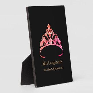 Placa Expositora La corona rosada anaranjada de la tiara de Srta.