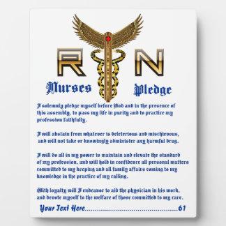 Placa Expositora La foto PlaqueCustomize de la enfermera corrige el