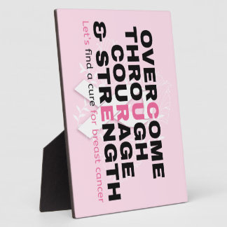 Placa Expositora La tipografía del rosa de la cita del cáncer nos