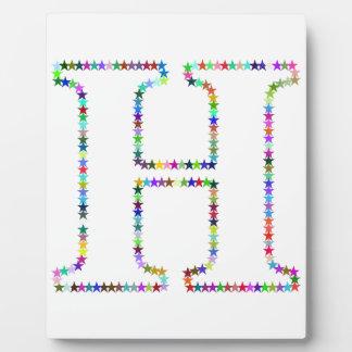 Placa Expositora Letra H de la estrella del arco iris