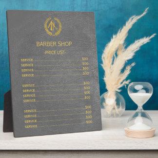 Placa Expositora Lista de precios de la mirada de cuero gris oscuro