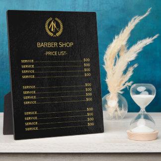 Placa Expositora Lista de precios de la mirada de cuero negra de la