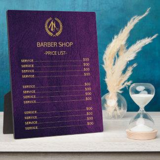 Placa Expositora Lista de precios de la mirada de cuero púrpura de