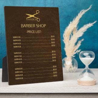 Placa Expositora Lista de precios de la mirada del cuero marrón