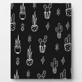 Placa Expositora Mano blanco y negro del cactus de Boho dibujada