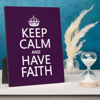 Placa Expositora Mantenga tranquilo y tenga fe (los colores
