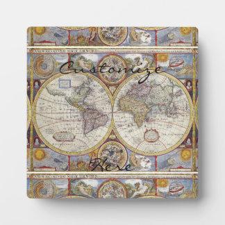 Placa Expositora Mapa Thunder_Cove del vintage del viajero de mundo