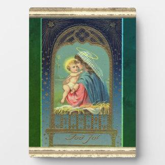 Placa Expositora Natividad Maria que detiene al bebé Jesús