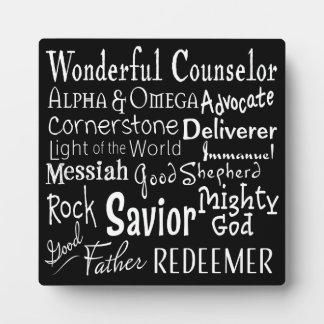 Placa Expositora Nombres de dios de la biblia en blanco y negro