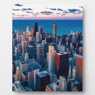 Placa Expositora Ocaso del horizonte de Chicago