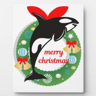 Placa Expositora orca de las Felices Navidad