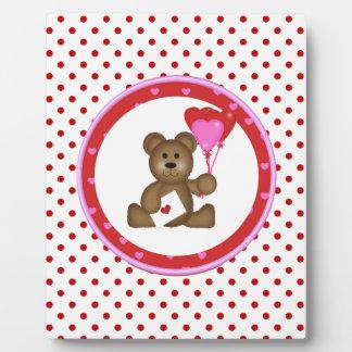 Placa Expositora Oso lindo con los globos de la tarjeta del día de
