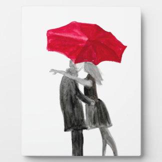 Placa Expositora Pares del amor con el paraguas rojo