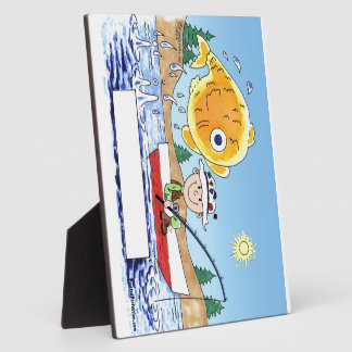 Placa Expositora Pesca, pescador - dibujo animado personalizado