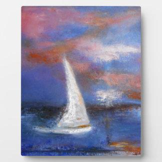 Placa Expositora Pintura del paisaje marino de la vela del puerto