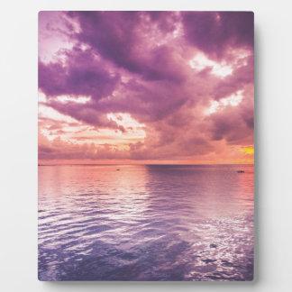 Placa Expositora Puesta del sol del océano inspirada