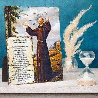 Placa Expositora Santo St Francis del rezo simple de Assisi para la