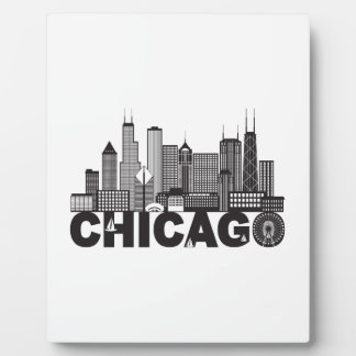 Placa Expositora Texto del horizonte de la ciudad de Chicago blanco
