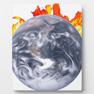 Placa Expositora Tierra del calentamiento del planeta
