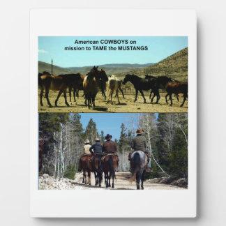 Placa Expositora Vaqueros americanos en viaje a los caballos del