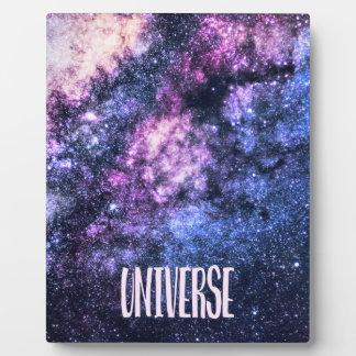 Placa Expositora Vía láctea de la foto del universo en cielo
