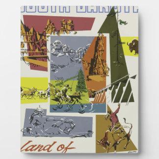 Placa Expositora Viaje Dakota del Sur los E.E.U.U. del vintage