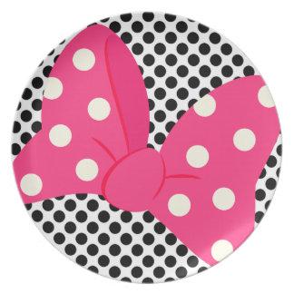 Placa femenina del arco rosado plato