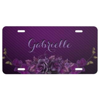 Placa floral púrpura del monograma