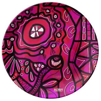 Placa geométrica brillante de la porción plato de porcelana