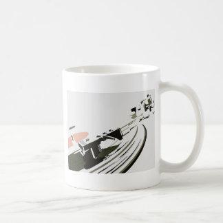 Placa giratoria del vinilo taza de café