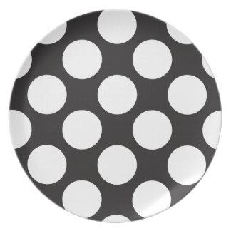 Placa grande blanco y negro de los lunares plato para fiesta
