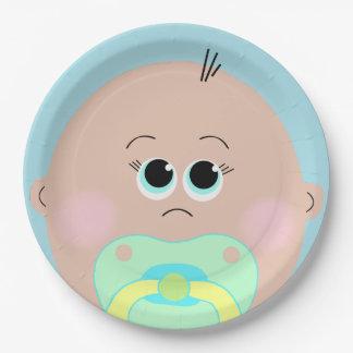 Placa grande de la fiesta de bienvenida al bebé de plato de papel