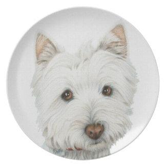 Placa linda del perro de Westie Platos Para Fiestas
