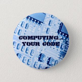 Placa madre azul del ordenador chapa redonda de 5 cm