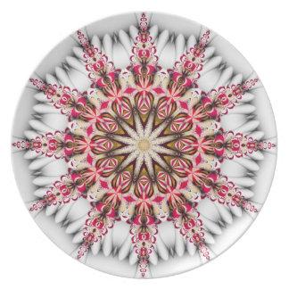 Placa moderna del copo de nieve del día de fiesta platos
