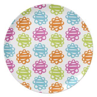 Placa multi de la melamina del modelo de flores de plato para fiesta