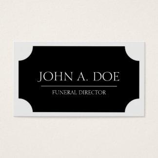 Placa negra del director de funeraria/blanco tarjeta de negocios
