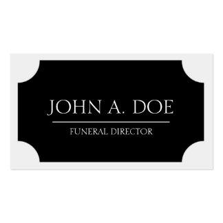 Placa negra del director de funeraria/blanco tarjetas de visita