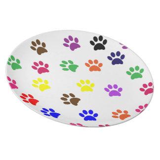 Placa o plato colorida de la comida de perro caser