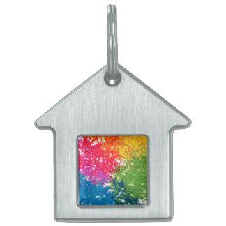 Placa Para Mascotas Arco iris del polvo del color