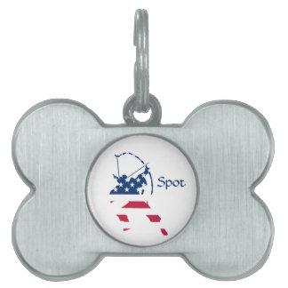 Placa Para Mascotas Bandera americana del archer del tiro al arco de