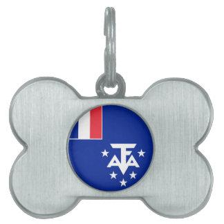 Placa Para Mascotas Bandera meridional y antártica francesa de las