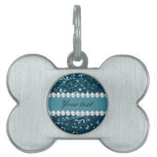 Placa Para Mascotas Brillo azul y diamantes del trullo oscuro falso