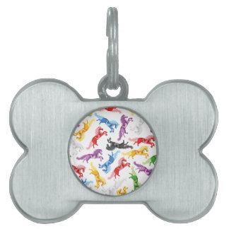 Placa Para Mascotas Caballos de salto coloreados del modelo