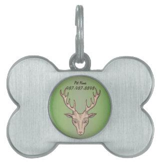 Placa Para Mascotas Cabeza masculina de los ciervos de Brown con las