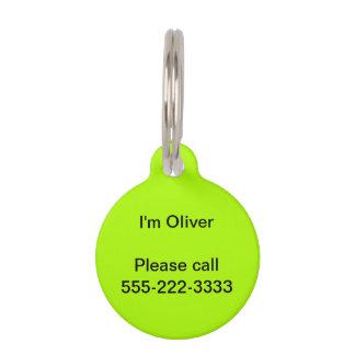 Placa Para Mascotas Color sólido verde fluorescente