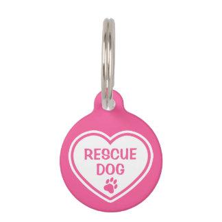 Placa Para Mascotas Corazón del perro del rescate del rosa y del