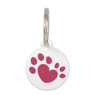 Placa Para Mascotas Corazón polidáctilo de la impresión de la pata del