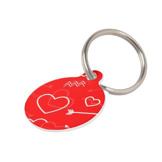 Placa Para Mascotas Corazón y flecha blancos rojos del amor de las