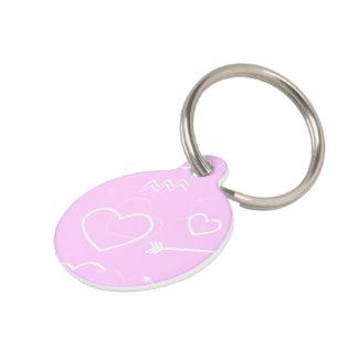 Placa Para Mascotas Corazón y flecha rosados y blancos del amor de las